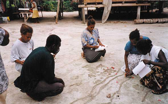 Participants in a training programme map information in the sand. Mapping is one of a number of participatory tools used by TerraCircle trainers. The techniques TerraCircle uses to design and implement project work are chosen to encourage the participation of members of the commuity. They can be described as Participatory Action and Learning. TerraCircle encourages the attitude among project partners that development requires a committment by the community, that aid is not something that is simply 'given' by organisations in developing countries - that is, aid is not charity but is a cooperative endeavour that shapes the future of communities.