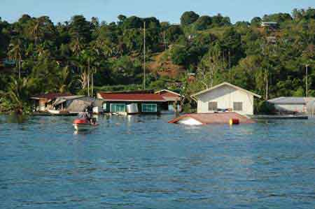After the tsunami: the town of Gizo, Solomon Islands. Photo: John and Tracy, taken from their boat, Prossie Joe