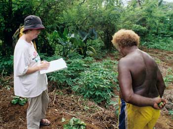 TerraCircle's Fiona Campbell collects information about agroforestry from retired soil scientist, Joseph Kirio (Suva'a Bay, North Malaita, Solomon Islands)